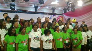 Dr(Mrs) Omobola Johnson with some of the girls at the flag off of the 1000 ICT Girls program